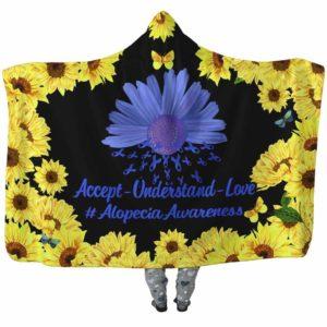HB-W-Awareness-SunflowerBorder27-Alopec-0@undefined-Alopecia Awareness Sunflower Flower Adults Kids Baby Hooded Blanket With Hood. Faith Hope Love Survivor Gift.