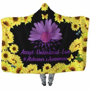HB-W-Awareness-SunflowerBorder27-Alzhei-2@undefined-Alzheimer'S Awareness Sunflower Flower Adults Kids Baby Hooded Blanket With Hood. Faith Hope Love Survivor Gift.