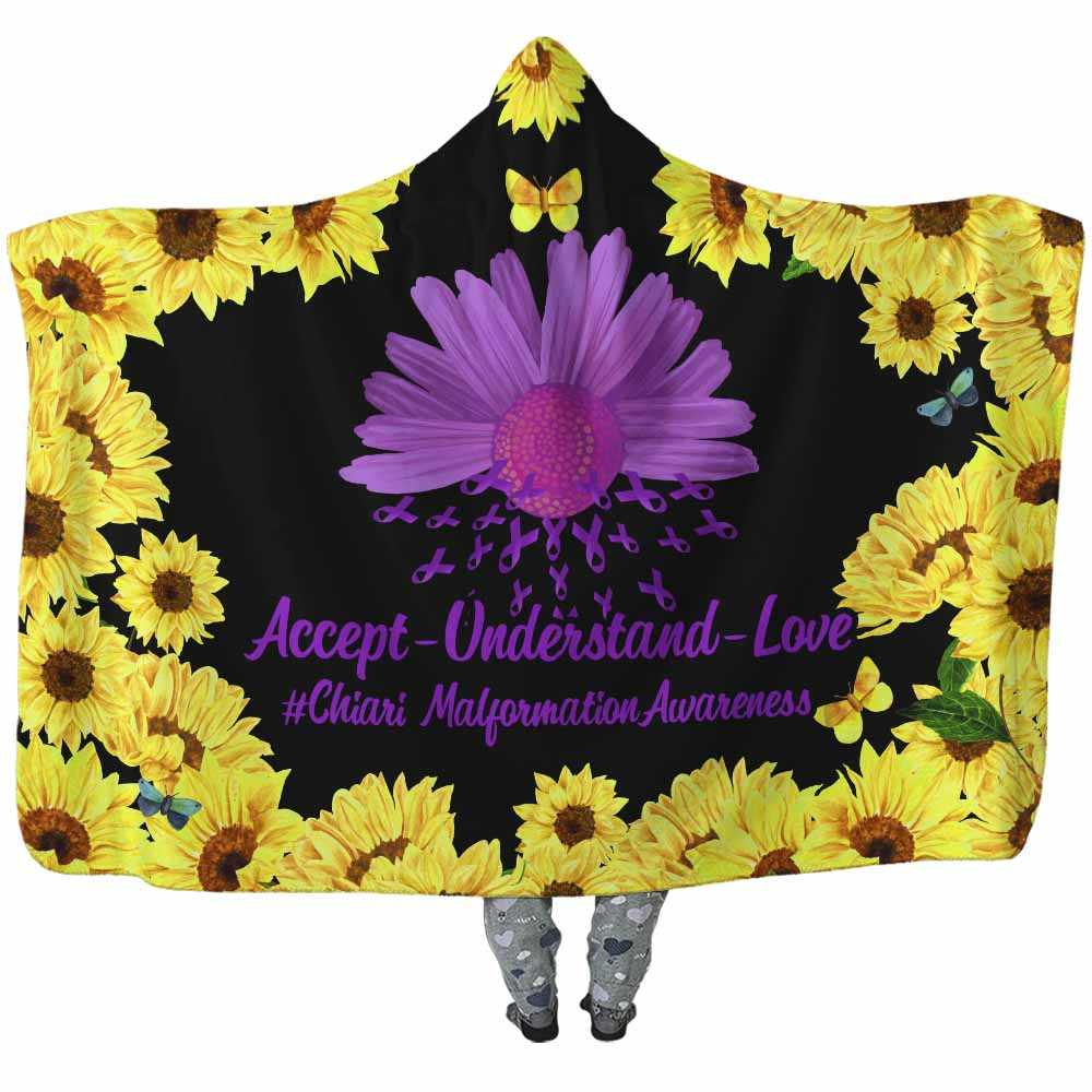 HB-W-Awareness-SunflowerBorder27-ChiaMal-13@undefined-Chiari Malformation Awareness Sunflower Flower Adults Kids Baby Hooded Blanket With Hood. Faith Hope Love Survivor Gift.