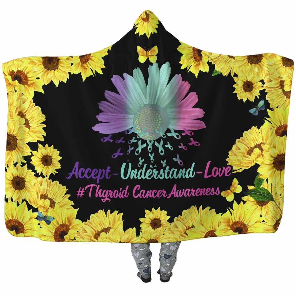 HB-W-Awareness-SunflowerBorder27-ThyCan-40@undefined-Thyroid Cancer Awareness Sunflower Flower Adults Kids Baby Hooded Blanket With Hood. Faith Hope Love Survivor Gift.