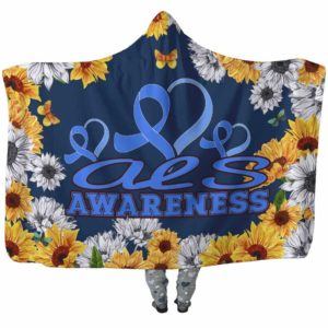 HB-W-Awareness-SunflowerXY-ALS-1@undefined-Als Amyotrophic Lateral Sclerosis Awareness Flower Sunflower Adults Kids Baby Hooded Blanket. Faith Hope Love Survivor Gift.