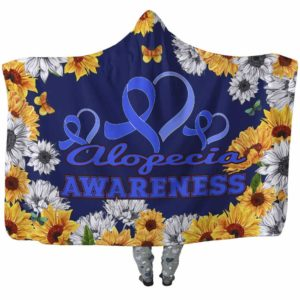 HB-W-Awareness-SunflowerXY-Alopec-0@undefined-Alopecia Awareness Flower Sunflower Adults Kids Baby Hooded Blanket With Hood. Faith Hope Love Survivor Gift.