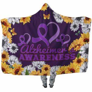 HB-W-Awareness-SunflowerXY-Alzhei-2@undefined-Alzheimer'S Awareness Flower Sunflower Adults Kids Baby Hooded Blanket With Hood. Faith Hope Love Survivor Gift.
