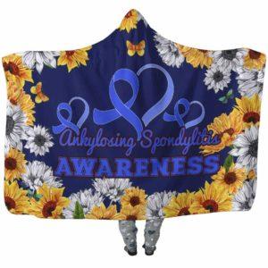 HB-W-Awareness-SunflowerXY-AnSpon-3@undefined-Ankylosing Spondylitis Awareness Flower Sunflower Adults Kids Baby Hooded Blanket With Hood. Faith Hope Love Survivor Gift.