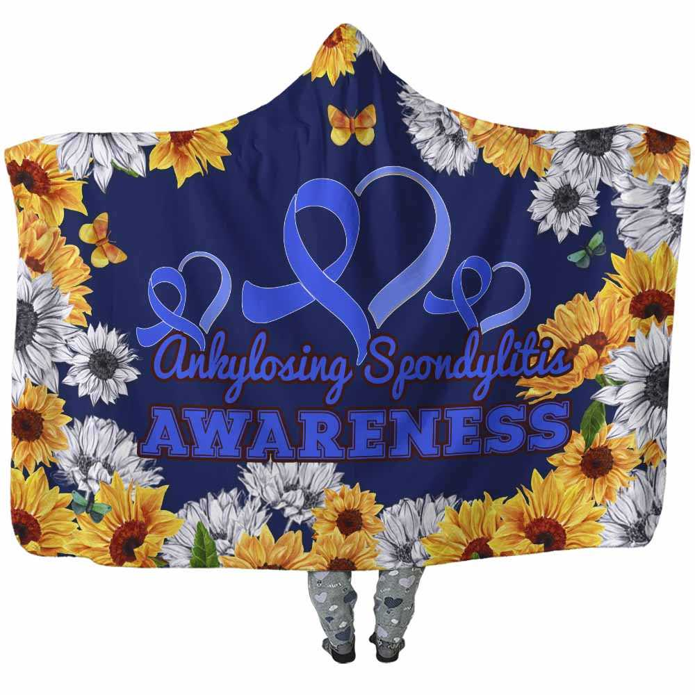 HB-W-Awareness-SunflowerXY-AnSpon-3@undefined-Ankylosing Spondylitis Awareness Flower Sunflower Adults Kids Baby Hooded Blanket With Hood. Faith Hope Love Survivor Gift.