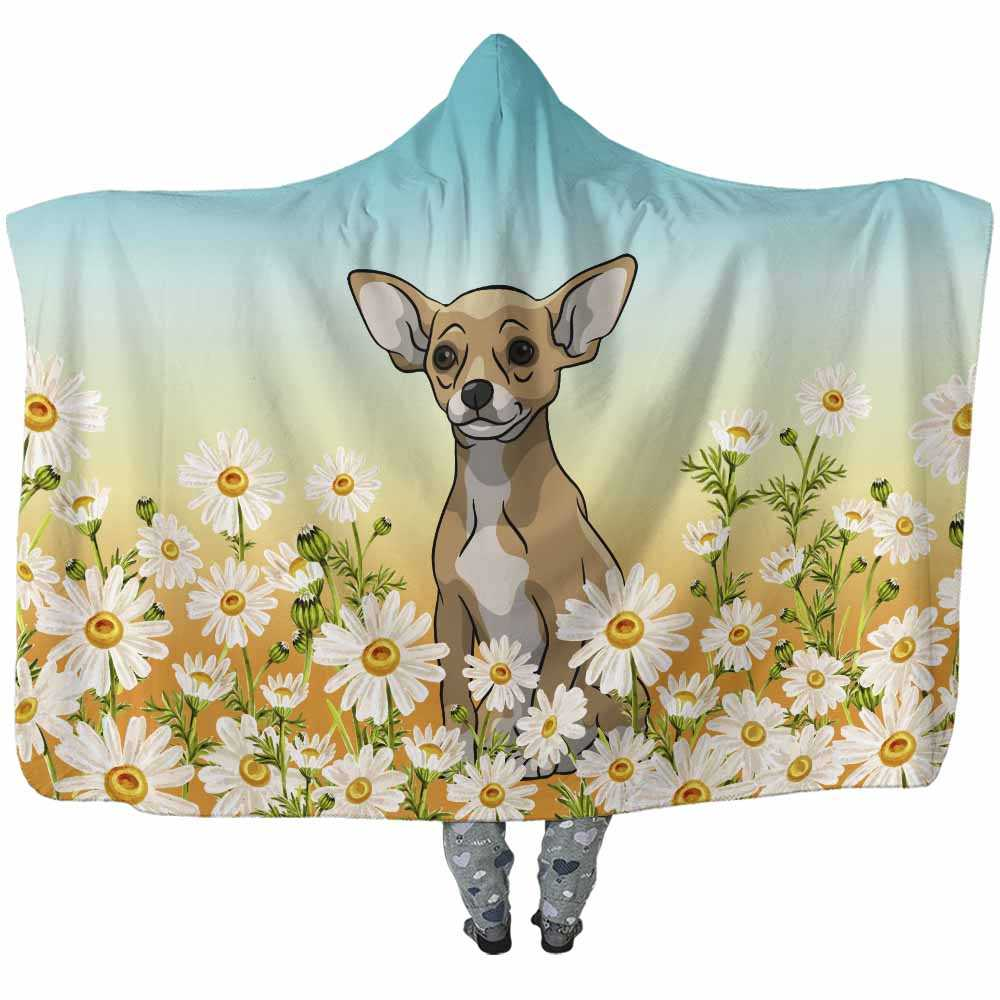 HB-W-Dog-DaisyField-CHua-16@undefined-Chihuahua Dog Lovers Daisy Field Adults Kids Baby Hooded Blanket. Dog Mom Dog Dad Dog Owner Gift Custom Blanket.