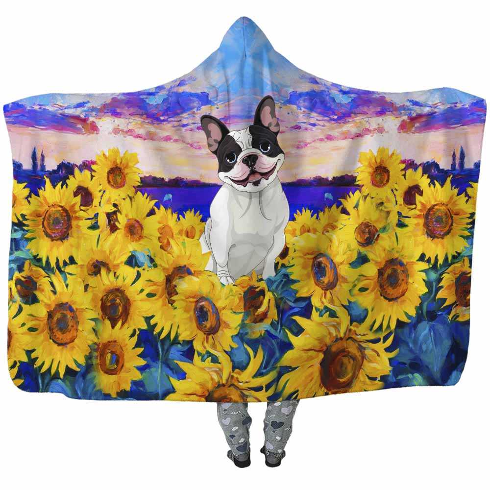 HB-W-Dog-SunflowerField-FrCh-24@undefined-Frenchie Dog Lovers Sunflower Sunset Adults Kids Baby Hooded Blanket. Dog Mom Dog Dad Gift Custom Blanket.
