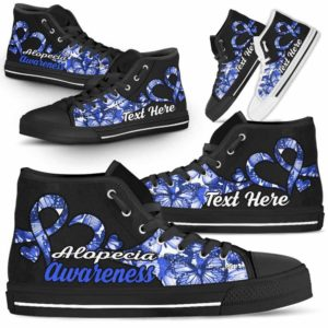 HTS-U-Awareness-ButterflyNa011-Alopec-0@undefined-Alopecia Awareness Ribbon Butterfly Canvas Shoes High Top Shoes Women Men. Faith Hope Love Custom Gift.