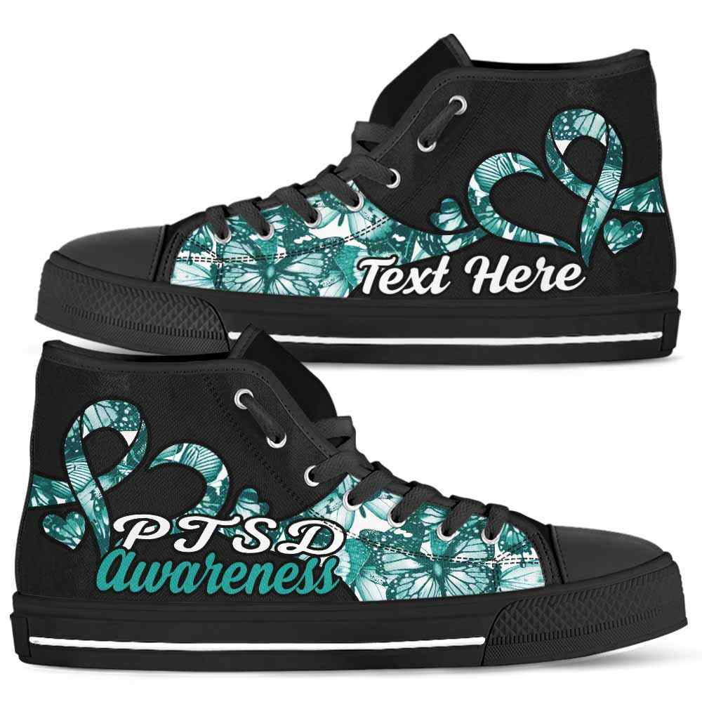 HTS-U-Awareness-ButterflyNa011-PTSD-34@undefined-Ptsd Post Traumatic Stress Disorder Awareness Ribbon Butterfly Canvas Shoes High Top Shoes Women Men. Love Custom Gift.