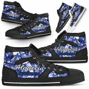 HTS-U-Awareness-ButterflyNa012-Alopec-0@undefined-Alopecia Awareness Ribbon Butterfly Canvas Shoes High Top Shoes Women Men. Faith Hope Love Custom Gift.