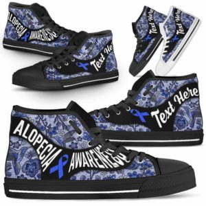 HTS-U-Awareness-EmbroideryNa01-Alopec-0@undefined-Alopecia Awareness Ribbon Embroidery Flower Canvas Shoes High Top Shoes Women Men. Faith Hope Love Custom Gift.