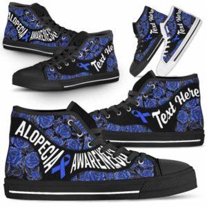 HTS-U-Awareness-EmbroideryNa02-Alopec-0@undefined-Alopecia Awareness Ribbon Embroidery Rose Canvas Shoes High Top Shoes Women Men. Faith Hope Love Custom Gift.