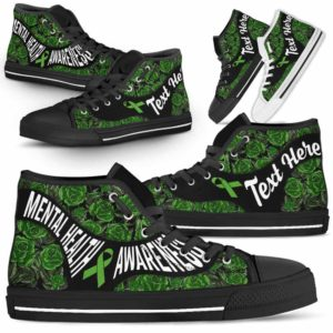 HTS-U-Awareness-EmbroideryNa02-MenHea-27@undefined-Mental Health Awareness Ribbon Embroidery Rose Canvas Shoes High Top Shoes Women Men. Faith Hope Love Custom Gift.