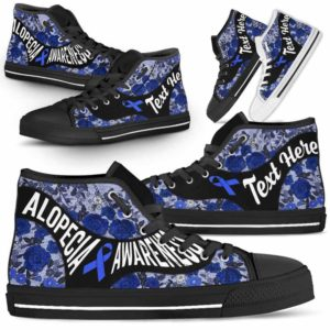 HTS-U-Awareness-EmbroideryNa03-Alopec-0@undefined-Alopecia Awareness Ribbon Flower Embroidery Canvas Shoes High Top Shoes Women Men. Faith Hope Love Custom Gift.
