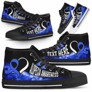 HTS-U-Awareness-Galaxy02NaSportline9-Alopec-0@undefined-Alopecia Awareness Ribbon Galaxy Canvas Shoes High Top Shoes Women Men. Survivor Fighter Custom Gift.