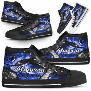 HTS-U-Awareness-GalaxyNa022-Alopec-0@undefined-Alopecia Awareness Ribbon Galaxy Canvas Shoes High Top Shoes Women Men. Faith Hope Love Custom Gift.
