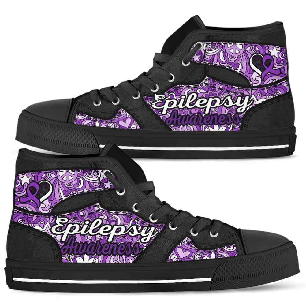 HTS-U-Awareness-LovenPeaceNa012-Epilep-21@undefined-Epilepsy Awareness Ribbon Hippie Love Canvas Shoes High Top Shoes Women Men. Faith Hope Love Custom Gift.