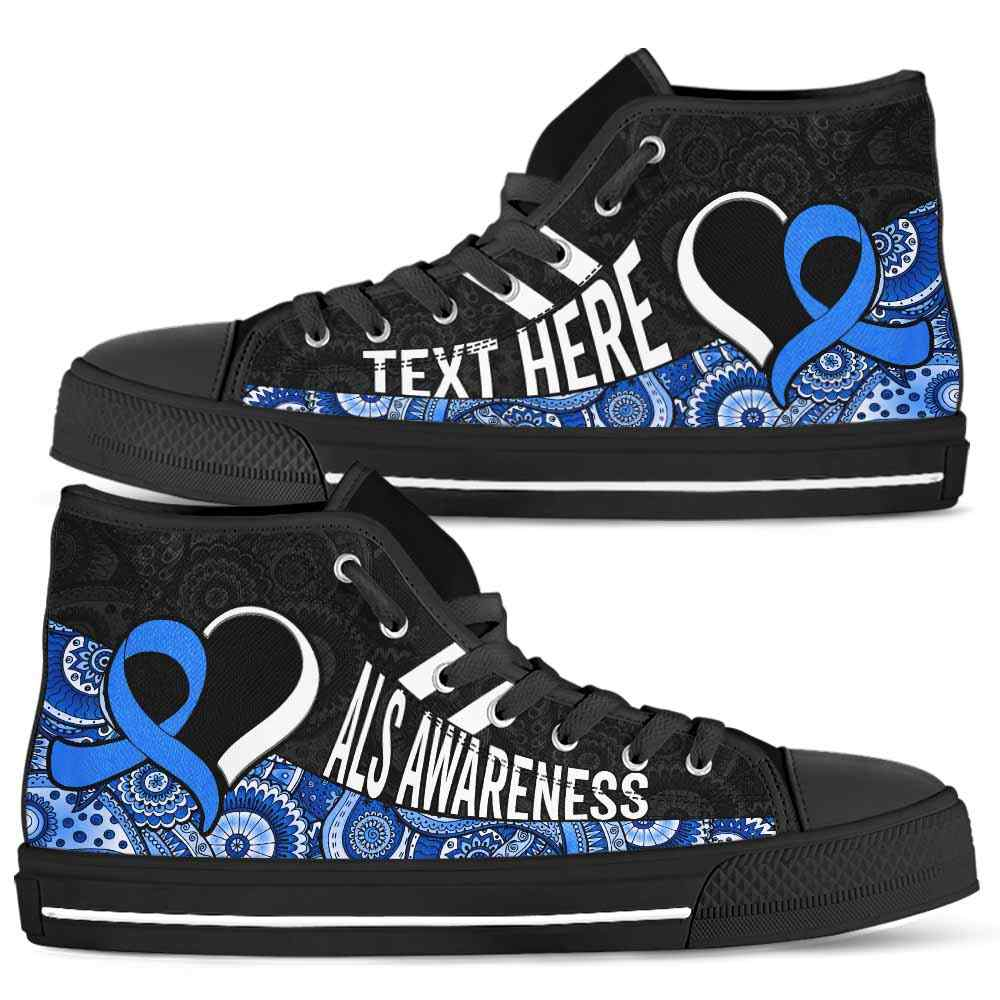 HTS-U-Awareness-Mandala02NaSportline9-ALS-1@undefined-Als Amyotrophic Lateral Sclerosis Awareness Ribbon Mandala Canvas Shoes High Top Shoes Women Men. Survivor Fight Custom Gift.