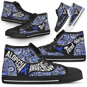 HTS-U-Awareness-MandalaNa02-Alopec-0@undefined-Alopecia Awareness Ribbon Colorful Mandala Canvas Shoes High Top Shoes Women Men. Faith Hope Love Custom Gift.