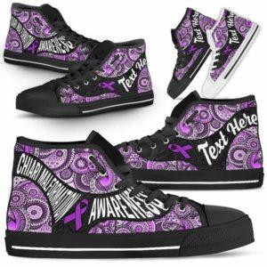 HTS-U-Awareness-MandalaNa02-ChiaMal-13@undefined-Chiari Malformation Awareness Ribbon Colorful Mandala Canvas Shoes High Top Shoes Women Men. Faith Hope Love Custom Gift.
