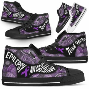 HTS-U-Awareness-MandalaNa03-Epilep-21@undefined-Epilepsy Awareness Ribbon Mandala Pattern Canvas Shoes High Top Shoes Women Men. Faith Hope Love Custom Gift.