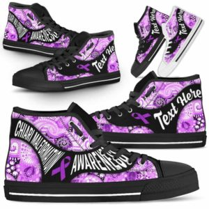 HTS-U-Awareness-PaisleyNa01-ChiaMal-13@undefined-Chiari Malformation Awareness Ribbon Mandala Blue Canvas Shoes High Top Shoes Women Men. Faith Hope Love Custom Gift.