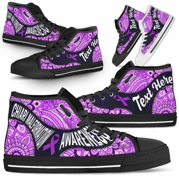 HTS-U-Awareness-PastelMandalaNa01-ChiaMal-13@undefined-Chiari Malformation Awareness Ribbon Mandala Pastel Canvas Shoes High Top Shoes Women Men. Faith Hope Love Custom Gift.