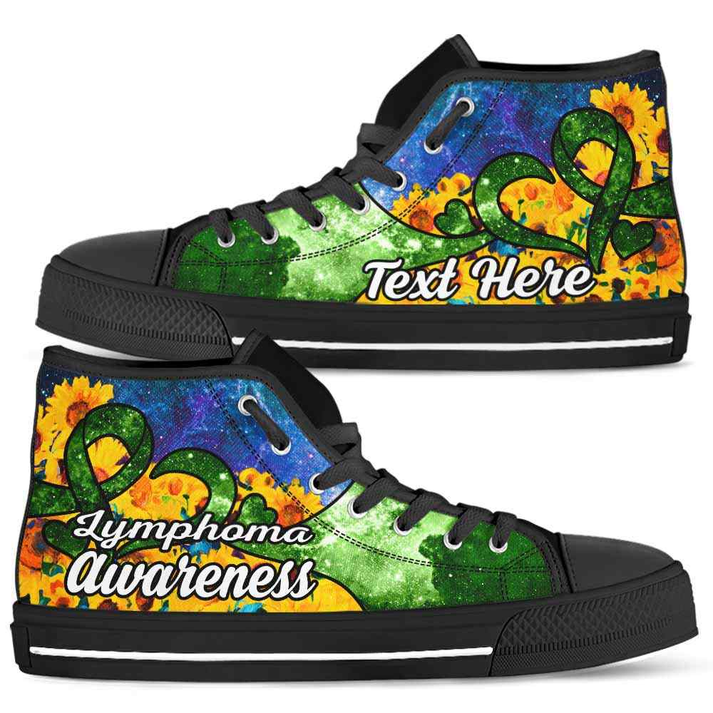 HTS-U-Awareness-SunflowerGalaxyNa011-Lympho-30@undefined-Lymphoma Non-Hodgkin Lymphoma Awareness Ribbon Sunflower Galaxy Canvas Shoes High Top Shoes Women Men. Love Custom Gift.