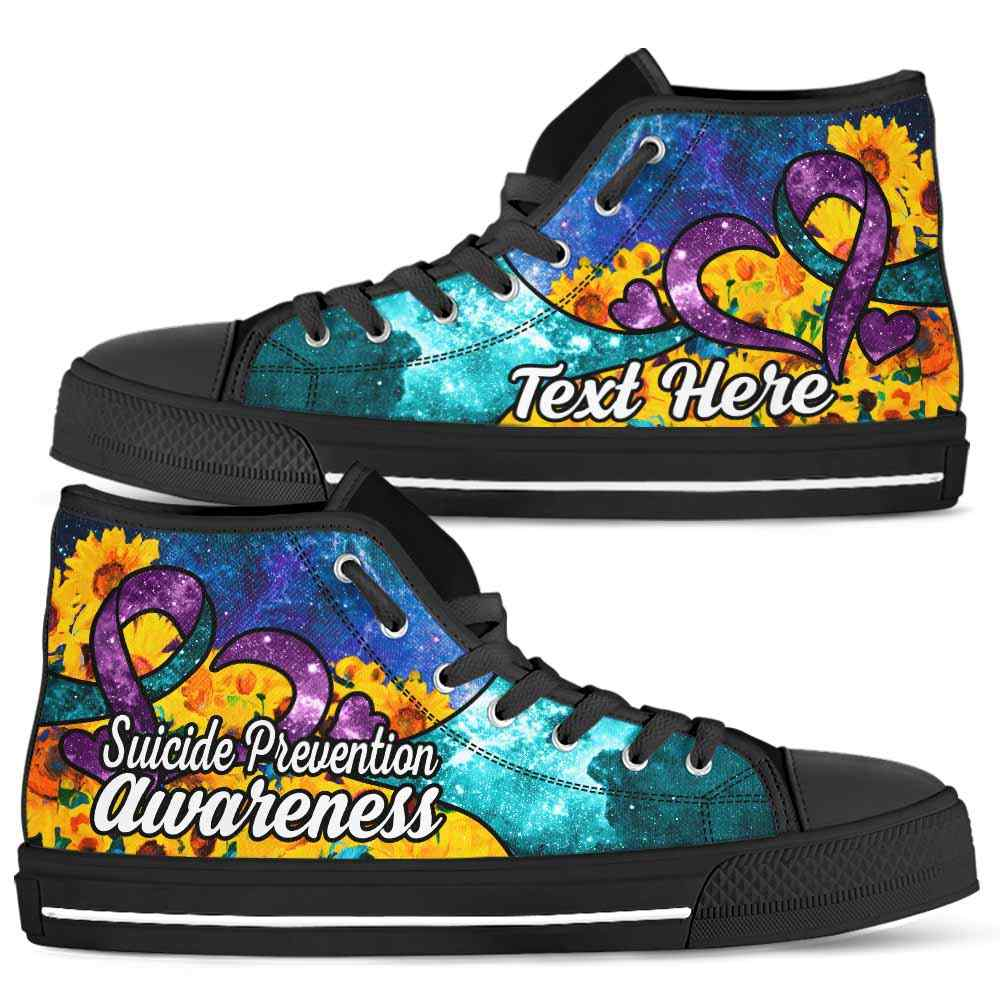 HTS-U-Awareness-SunflowerGalaxyNa011-SuiPre-39@undefined-Suicide Prevention Awareness Ribbon Sunflower Galaxy Canvas Shoes High Top Shoes Women Men. Faith Hope Love Custom Gift.