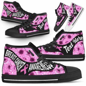HTS-U-Awareness-SunflowerNa01-BreCan-9@undefined-Breast Cancer Awareness Ribbon Sunflower Canvas Shoes High Top Shoes Women Men. Faith Hope Love Custom Gift.