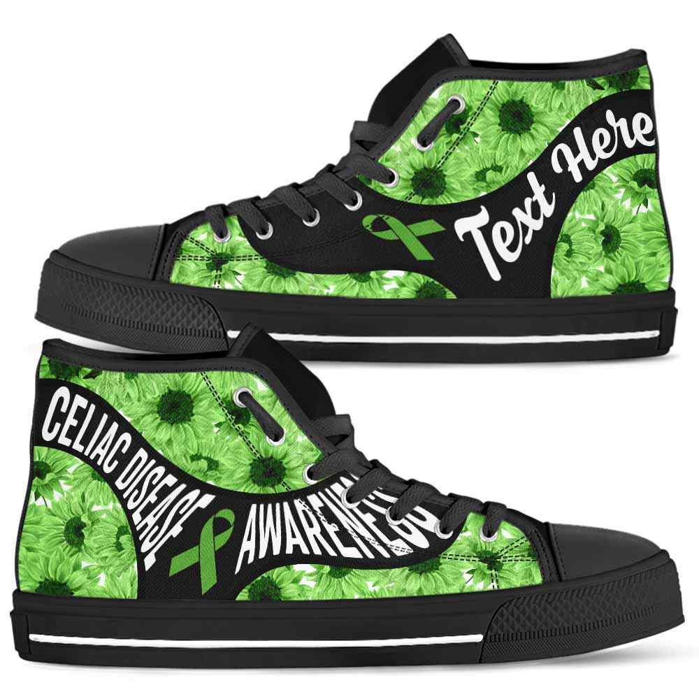 HTS-U-Awareness-SunflowerNa01-CelDis-10@undefined-Celiac Disease Awareness Ribbon Sunflower Canvas Shoes High Top Shoes Women Men. Faith Hope Love Custom Gift.