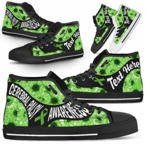 HTS-U-Awareness-SunflowerNa01-CerPal-11@undefined-Cerebral Palsy Awareness Ribbon Sunflower Canvas Shoes High Top Shoes Women Men. Faith Hope Love Custom Gift.