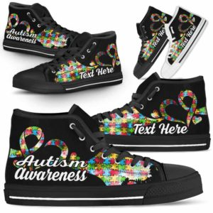 HTS-U-Awareness-WaterColorNa011-Autism-5@undefined-Autism Awareness Ribbon Watercolor Canvas Shoes High Top Shoes Women Men. Faith Hope Love Custom Gift.