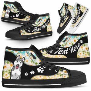 HTS-U-Dog-DaisyNa02-Husky-36@undefined-Daisy Flower Husky Dog Lovers Canvas Shoes High Top Shoes Gift Men Women. Dog Mom Dog Dad Custom Shoes.