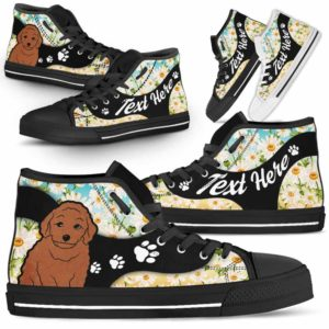 HTS-U-Dog-DaisyNa02-Poodle-45@undefined-Daisy Flower Poodle Dog Lovers Canvas Shoes High Top Shoes Gift Men Women. Dog Mom Dog Dad Custom Shoes.
