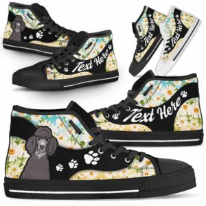 HTS-U-Dog-DaisyNa02-Poodle-48@undefined-Daisy Flower Poodle Dog Lovers Canvas Shoes High Top Shoes Gift Men Women. Dog Mom Dog Dad Custom Shoes.