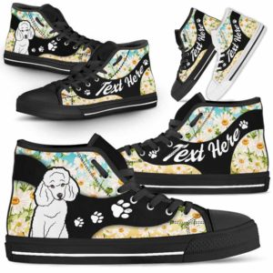 HTS-U-Dog-DaisyNa02-Poodle-50@undefined-Daisy Flower Poodle Dog Lovers Canvas Shoes High Top Shoes Gift Men Women. Dog Mom Dog Dad Custom Shoes.