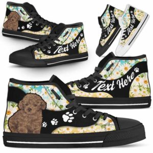 HTS-U-Dog-DaisyNa02-Poodle-51@undefined-Daisy Flower Poodle Dog Lovers Canvas Shoes High Top Shoes Gift Men Women. Dog Mom Dog Dad Custom Shoes.