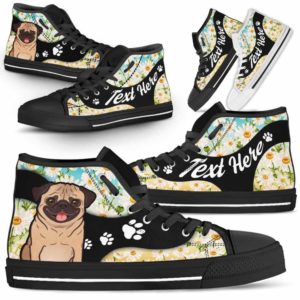 HTS-U-Dog-DaisyNa02-Pug-52@undefined-Daisy Flower Pug Dog Lovers Canvas Shoes High Top Shoes Gift Men Women. Dog Mom Dog Dad Custom Shoes.