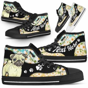 HTS-U-Dog-DaisyNa02-Pug-53@undefined-Daisy Flower Pug Dog Lovers Canvas Shoes High Top Shoes Gift Men Women. Dog Mom Dog Dad Custom Shoes.