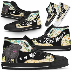 HTS-U-Dog-DaisyNa02-Pug-54@undefined-Daisy Flower Pug Dog Lovers Canvas Shoes High Top Shoes Gift Men Women. Dog Mom Dog Dad Custom Shoes.