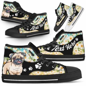 HTS-U-Dog-DaisyNa02-Pug-55@undefined-Daisy Flower Pug Dog Lovers Canvas Shoes High Top Shoes Gift Men Women. Dog Mom Dog Dad Custom Shoes.