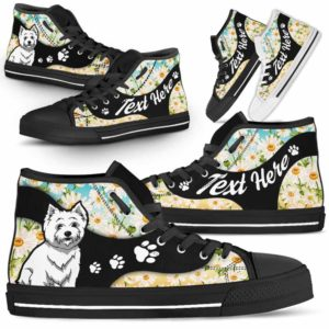 HTS-U-Dog-DaisyNa02-Westie-62@undefined-Daisy Flower Westie Dog Lovers Canvas Shoes High Top Shoes Gift Men Women. Dog Mom Dog Dad Custom Shoes. West Highland Terrier