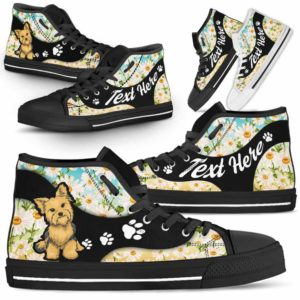 HTS-U-Dog-DaisyNa02-Yorkie-63@undefined-Daisy Flower Yorkie Dog Lovers Canvas Shoes High Top Shoes Gift Men Women. Dog Mom Dog Dad Custom Shoes. Yorkshire Terrier