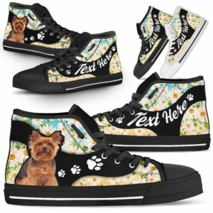HTS-U-Dog-DaisyNa02-Yorkie-64@undefined-Daisy Flower Yorkie Dog Lovers Canvas Shoes High Top Shoes Gift Men Women. Dog Mom Dog Dad Custom Shoes. Yorkshire Terrier