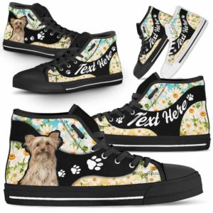HTS-U-Dog-DaisyNa02-Yorkie-65@undefined-Daisy Flower Yorkie Dog Lovers Canvas Shoes High Top Shoes Gift Men Women. Dog Mom Dog Dad Custom Shoes. Yorkshire Terrier