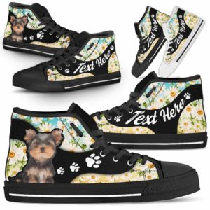 HTS-U-Dog-DaisyNa02-Yorkie-66@undefined-Daisy Flower Yorkie Dog Lovers Canvas Shoes High Top Shoes Gift Men Women. Dog Mom Dog Dad Custom Shoes. Yorkshire Terrier