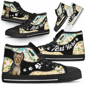 HTS-U-Dog-DaisyNa02-Yorkie-67@undefined-Daisy Flower Yorkie Dog Lovers Canvas Shoes High Top Shoes Gift Men Women. Dog Mom Dog Dad Custom Shoes. Yorkshire Terrier