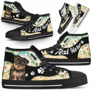HTS-U-Dog-DaisyNa02-Yorkie-68@undefined-Daisy Flower Yorkie Dog Lovers Canvas Shoes High Top Shoes Gift Men Women. Dog Mom Dog Dad Custom Shoes. Yorkshire Terrier