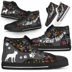 HTS-U-Dog-EmbroideryNa01-BosTer-3@undefined-Colorful Flower Boston Terrier Dog Lovers Canvas Shoes High Top Shoes Gift Men Women. Dog Mom Dog Dad Custom Shoes.
